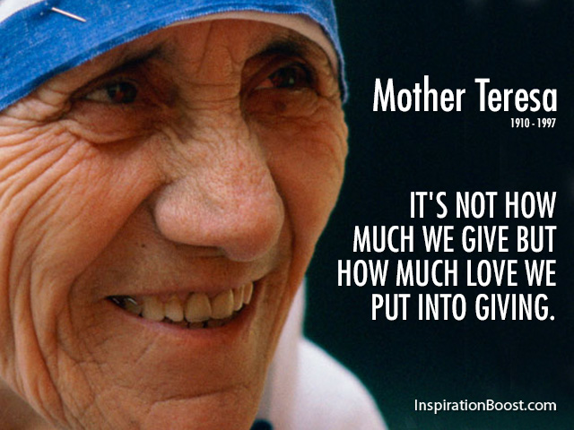 Mother Teresa Giving Quote Inspiration Boost